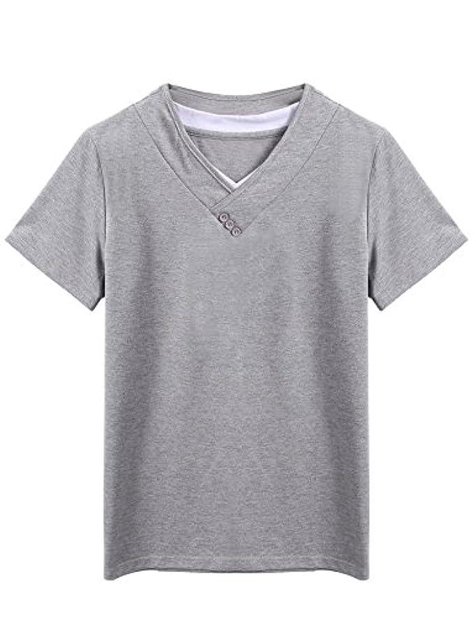 取得最大限モンク(クーファンディ) Coofandy tシャツ メンズ Vネック 半袖 配色 重ね着風 ボタン 無地 カジュアル コットン シャツ 仕事 レイヤード 夏 スリム 快適 シンプル おしゃれ 黒 グレー S~XXL
