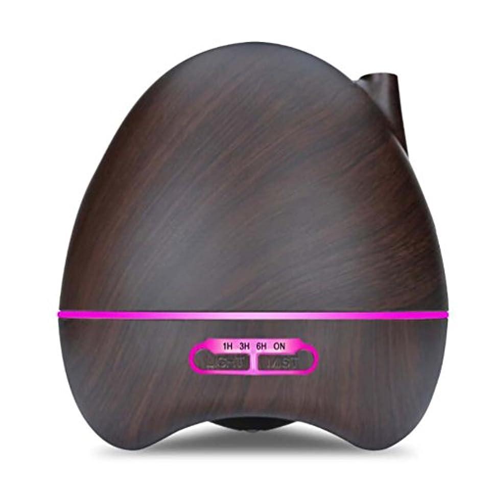 アナログ感嘆出来事アロマエッセンシャルオイルディフューザーアトマイザー300MLリモコン超音波加湿器7色LEDライト水なしオートシャットオフを変更する寝室に適用ホームベビールーム - 木目,Darkbrown