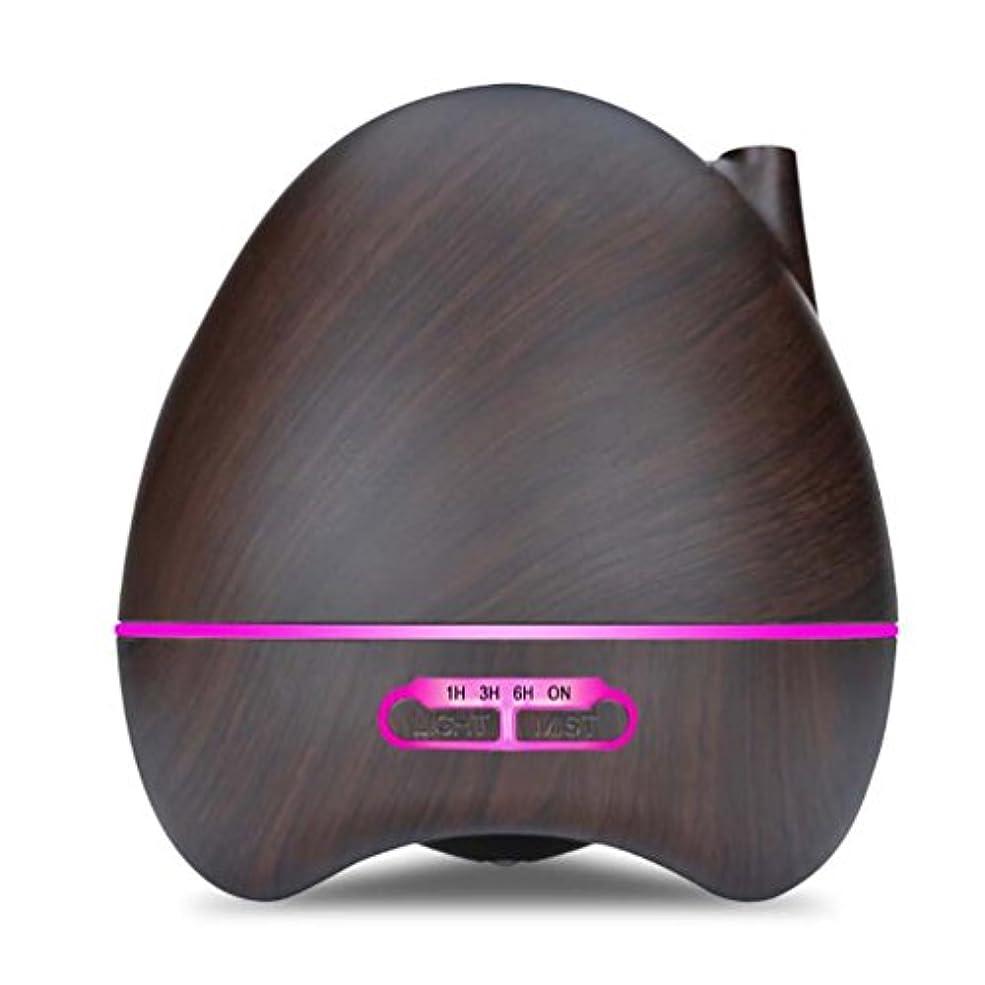 抽選電気進行中アロマエッセンシャルオイルディフューザーアトマイザー300MLリモコン超音波加湿器7色LEDライト水なしオートシャットオフを変更する寝室に適用ホームベビールーム - 木目,Darkbrown