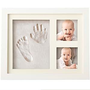 可愛らしいベイビーハンドプリント&フットプリントフレームキット - 赤ちゃん用の記念フレームが家族の思い出を大切に保存してくれます -安全性の高い非毒性クレイ、アクリルガラス、上質な木製フレーム使用 -出産祝い・ベビーギフトに最適です
