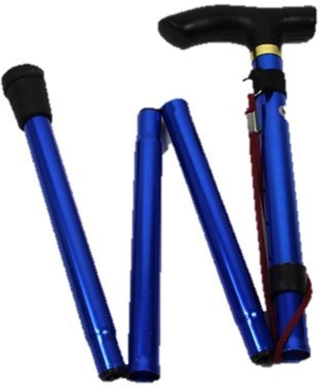 マウンド建築家ささいないざという時 折りたたみ 式 杖 コンパクト ステッキ 軽量 携帯 便利 ブルー