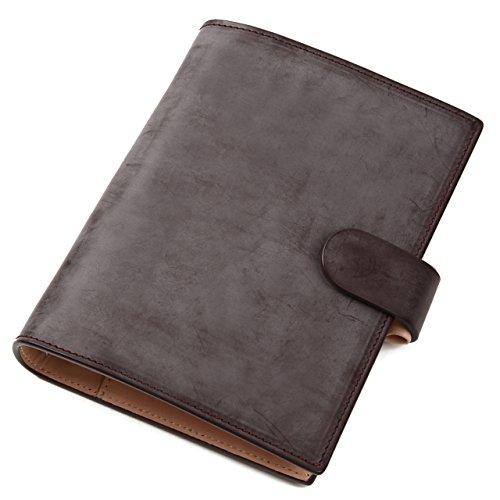 (ラファエロ) Raffaello 一流の革職人が作る ブライドルレザーで製作したシステム手帳 (ロイヤルチョコ)