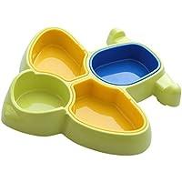 D DOLITY 全2色 航空機の形 赤ちゃん 子供 夕食トレイ 分割 プレート 仕切り食器 - 緑