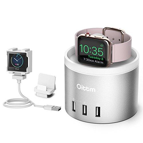 Oittm Apple Watch Series 3 充電スタンド 3in1充電スタンド Fitbit Blaze 充電 クレードル ドック 4ポート USB充電器 多機能 充電ケーブル収納可能 コンパクト アップルウォッチ 38mm / 42mm 各種対応、Fitbit Blaze、iPhone X、iPhone8/8 Plus、iPhone7/7 Plus等に対応 (Silver)