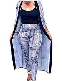 Candiyer 女性ファッション秋2ピースクロックパターンとロングパンツ