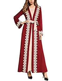 b99862c7f393b Zhhlaixing カジュアル 女性の優雅 Modest Muslim Aライン カクテル Gowns Kaftan マキシドレス ...