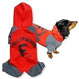 犬猫の服 full of vigor ドッグプレイ(R) fullロゴレインコートつなぎ 旧モデル ダックス用 カラー 3 レッド サイズ DML オールインワン フルオブビガー