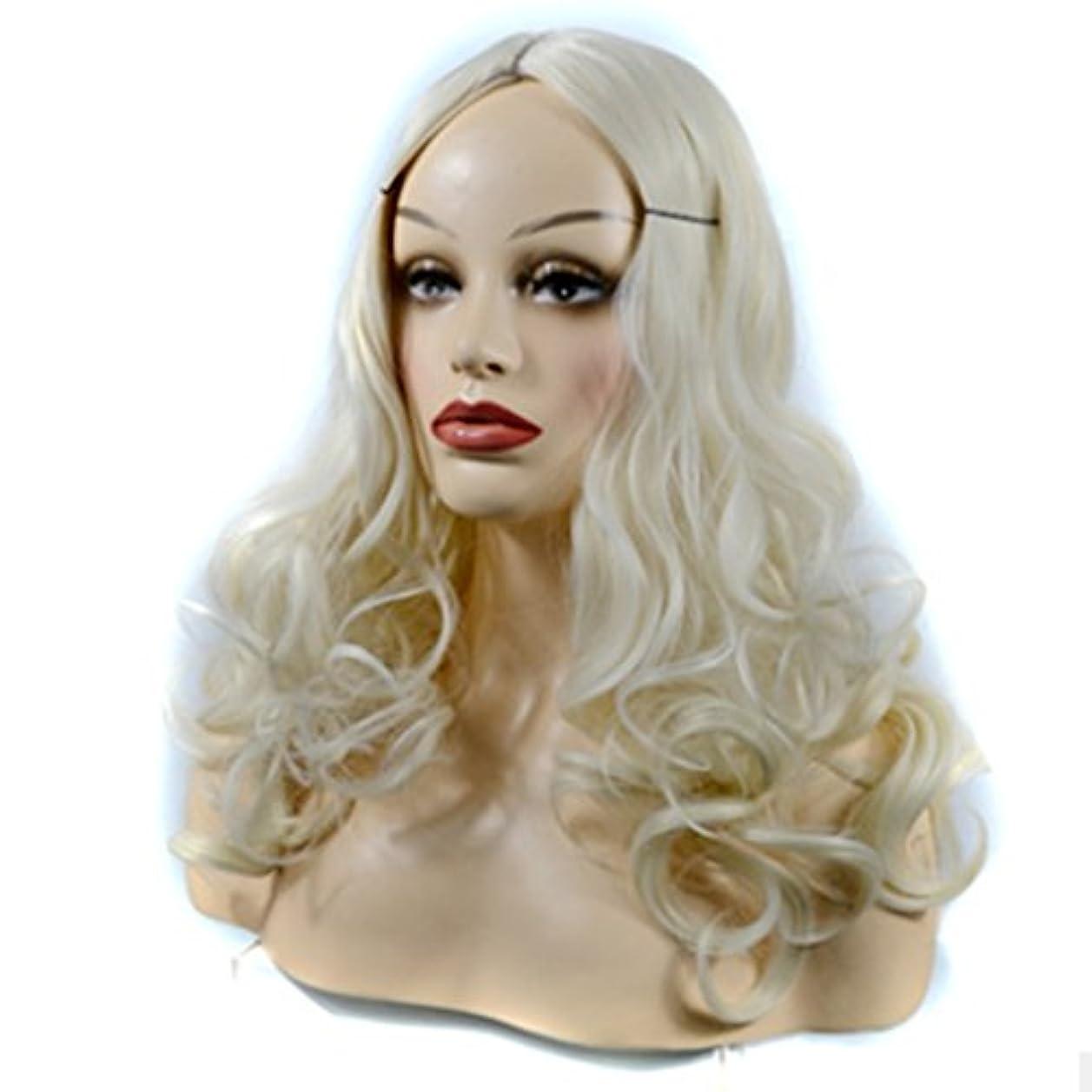 。レーダーナプキンJIANFU 60cm長いカーリーウィッグ、大きなウェーブミドルバンズヘアスタイルレタッチャブルフェイスベージュウィッグ - ナチュラルレディースウィッグ (Color : Beige)