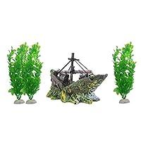 POPETPOP 水族館のボートの装飾セット3本入りの水槽の洞窟の飾り4本入り