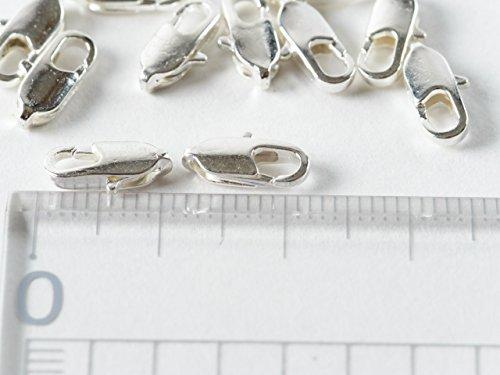紗や工房 カニカン【白銀 亜鉛合金 約10mm×約4mm 約10個】ストラップ パーツ キーホルダー ピアス 携帯 アクセサリー 材料 金具