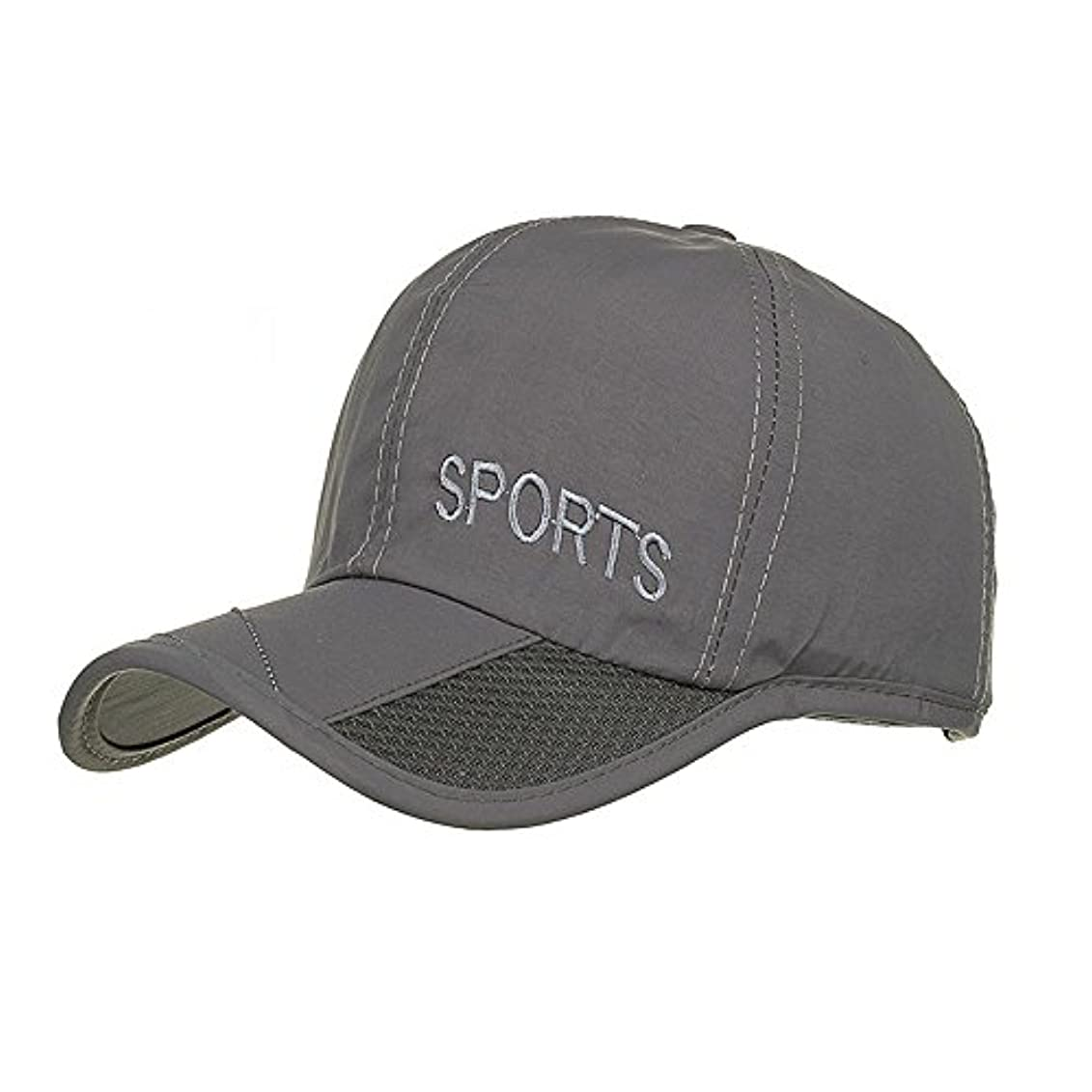 詳細に無法者マダムRacazing Cap 男女兼用 野球帽 夏 登山 通気性のある メッシュ 帽子 ベルクロ 可調整可能 刺繍 棒球帽 UV 帽子 軽量 屋外 Unisex Hat (グレー)