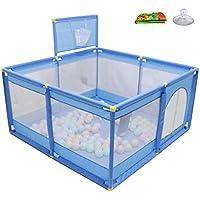 ベビーサークル, ポータブルプラスチック製の赤ちゃんの再生庭クロールマットとおもちゃの収納袋、幼児のための滑り止め安全な遊び場 - 青 (サイズ さいず : 128 × 128 × 66cm)