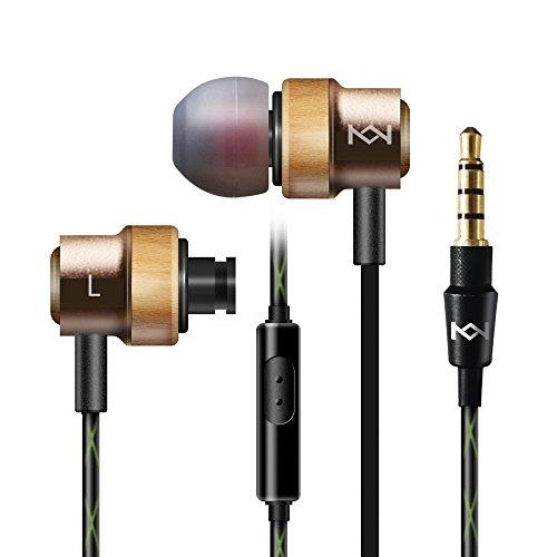 インイヤイヤフォン、beardadaプレミアム木製有線ノイズキャンセリング機能搭載イヤホンヘッドフォンマイクとボリュームコントロール付き ゴールド BD405