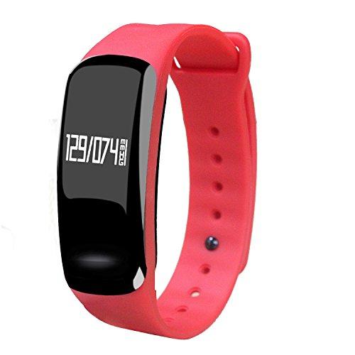 HOMESTEC スポーツウォッチ 時計 ランニング ウォッチ リアルタイム 健康時計 赤