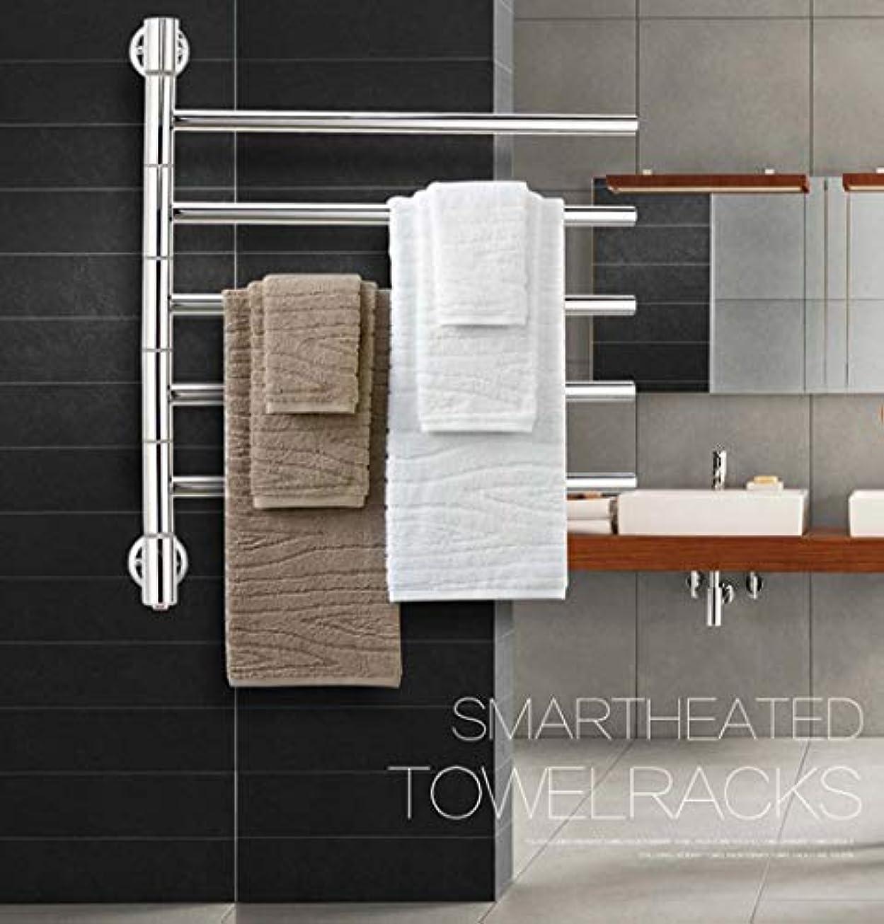 お風呂を持っている雇う換気する50Wタオルラジエーター、304ステンレススチールインテリジェント電気タオルウォーマー、バスルームラック、恒温乾燥防水および防錆64X55.5X9.9CM