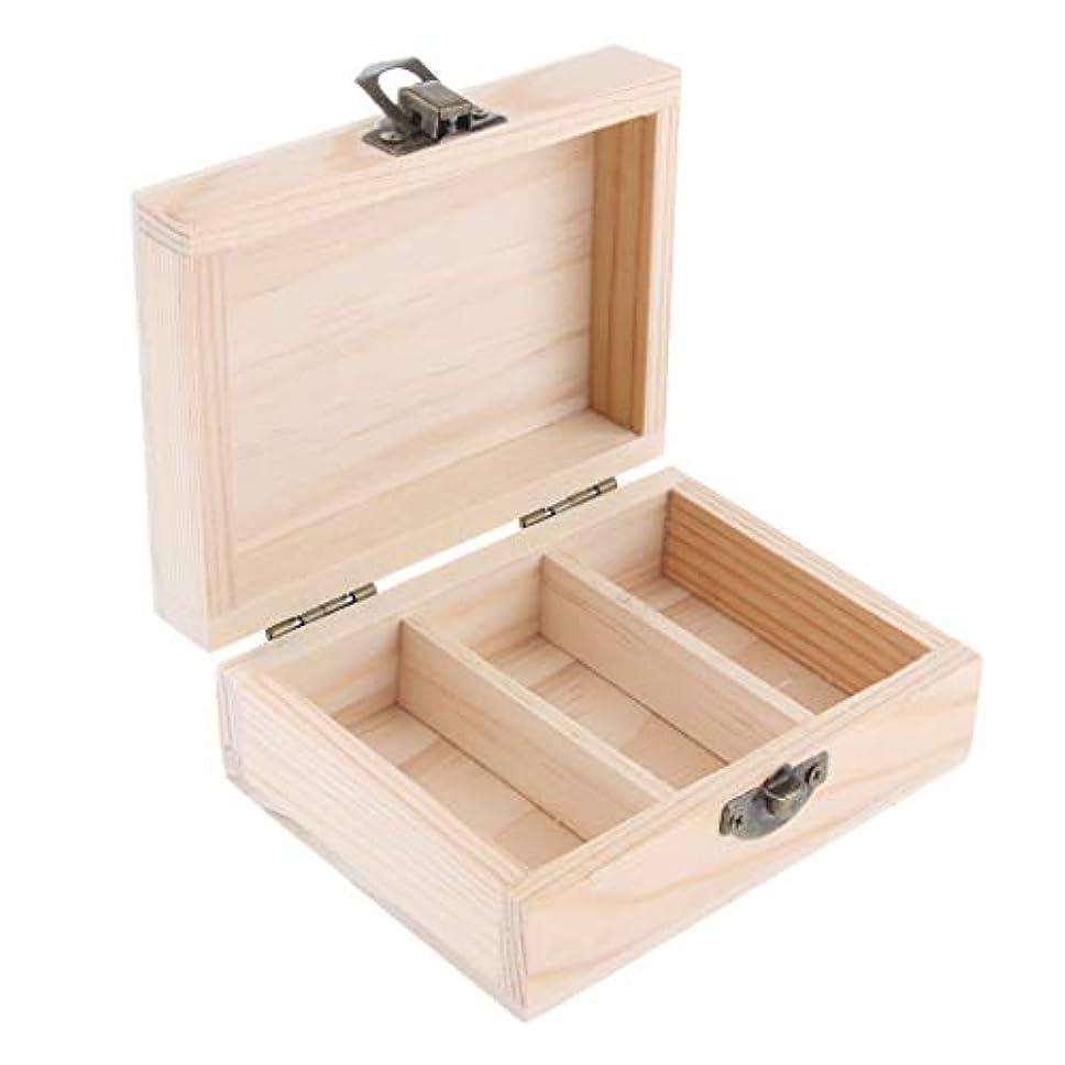 施しディーラー通知するサロン エッセンシャルオイル 展示ケース 収納ボックス 木製 日光遮断 3グリッド