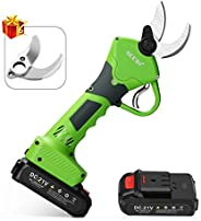 SEESII Professional Cordless Electric Pruning Shears,2Pcs 2Ah Backup Rechargeable Lithium Battery Powered Tree