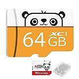 Wowcam sdカード マイクロsd 64GB Class10 UHS-I対応 高速 メモリカード SD変換アダプター付き メモリカードケース付属 動作確認済