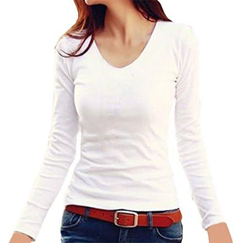 (ヴォンヴァーグ) ventvague Tシャツ カットソー トップス シャツ 長袖 無地 白 黒 ピンク レディース (01.M(Vネック), ホワイト)