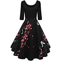 Lurdarin Floral Print Vintage Cocktail Party Swing Dresses for Women with Sleeves