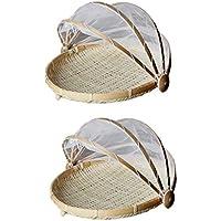 perfk 2個 竹 テント バスケット 食べ物 メッシュ ネットカバー S ラウンド 多目的用途