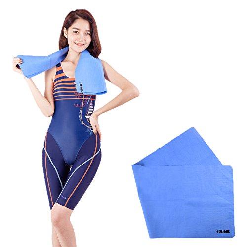 S4R(エスフォーアール) 絞って何度も使える セームタオル 85cm 背中が拭ける縦長サイズ スイミング/旅行/スポーツ など幅広く使えます (Blue, 85cm x 31cm)