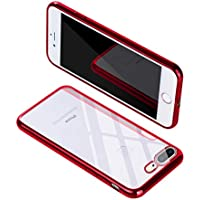 iphone 8 plus ケース, iphone 7 plus ケース RURUO スマホケース カバー 超薄型 軽量 透明 耐衝撃 クリア ソフト 全面保護 ワイヤレス充電対応 防指紋アイフォン7/8 ケース レンズ保護 キズ防止 高級感 スリム おしゃれ 高品質 シンプル 取り出し易い(iPhone 7/8 Plus, レッド)