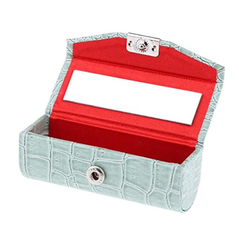F Fityle リップスティックケース 口紅 ホルダー レザー 財布 ミラー 収納ボックス 多色選べ - グレイシャーグリーン