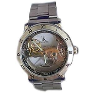 IK Colouring 腕時計 メンズ 自動巻き 究極のスケルトン 夜光 スチームパンク ステンレスバンド 防水 格好良い 機械式 (シルバー)