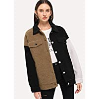 INFASHION Women's Multicolor Casual Button Up Flap Pocket Teddy Coat with Long Sleeve Poc