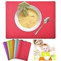 kindgaシリコンプレイスマットfor Kids and Babies食品グレード耐熱性シリコン製テーブルマット、Baking Matカラフルキッチンマットセットof 5By