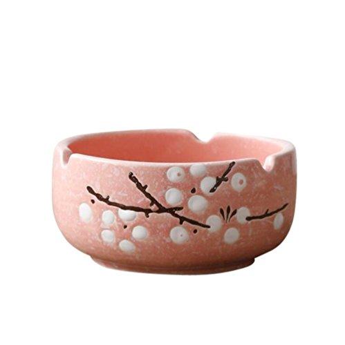 灰皿 アッシュトレイ 大容量 お手入れ簡単 梅花柄 陶器製 卓上用 料亭 旅館 和食器 飲食店 業務用 本体ピンク花ホワイト