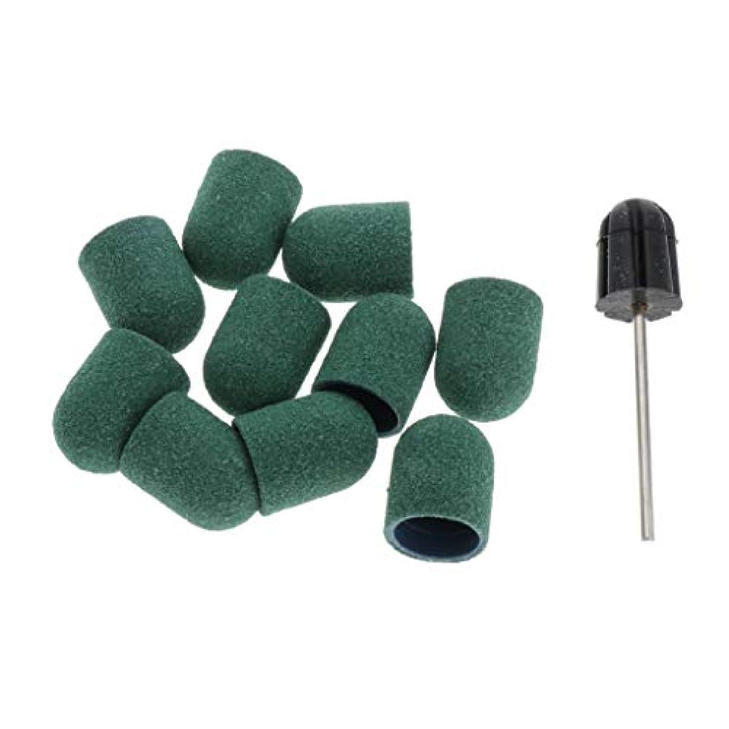 シガレットり挨拶T TOOYFUL ネイルビット 爪磨き 研削ヘッド ネイルサロン サンディングキャップ/スリーブ ネイルアーティスト用 約11点 - 緑