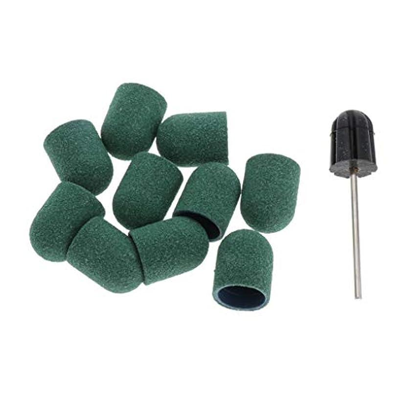 下線請求折T TOOYFUL ネイルビット 爪磨き 研削ヘッド ネイルサロン サンディングキャップ/スリーブ ネイルアーティスト用 約11点 - 緑