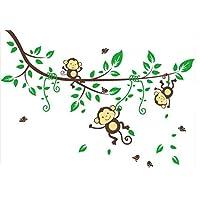 樱のホーム かわいい漫画のジャングルの森の猿の枝壁アートのステッカーデカール幼稚園の寝室の装飾(グリーン+ブラウン)