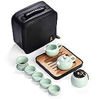 IVEGLA 旅行ティーセット 茶具セット 茶器セット 茶器 乾燥ティートレー セラミックティーカップ シンプルな和風