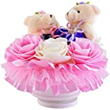 TOOGOO Hug Bear Lover Music Boxes Rotating Wedding Music Box Wedding Ring Pillow with Wedding Birthday Lover Valentine's Day Girlfriend Gifts D