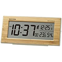 リズム(RHYTHM) 置き時計 竹板貼り 10x21.8x5cm 電波時計 目覚まし時計 天然竹材使用 温度 湿度 カレンダー 8RZ212SR06
