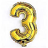 Liroyal ちょうど良い大きさ 数字バルーン ゴールド 誕生日 ウェディング パーティーに (3)