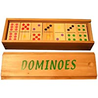 Color Wood Dominoes in wooden box