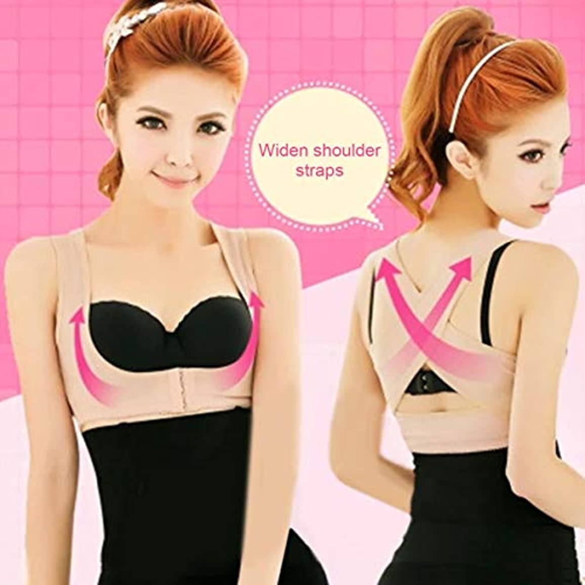 側溝断片愛撫Posture Corrector Women Chest Brace Up Prevent Chest Sagging And Humpback Bra Cross Strap Vest Body Shaper Slimming...