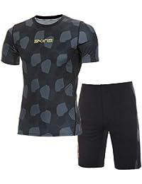 スキンズ(skins) スキンフィットS/Sシャツ&ハーフパンツ上下セット(ブラックカモ/ブラック杢) KMMMJA81-BKCM-KMMMJE83-BKMK