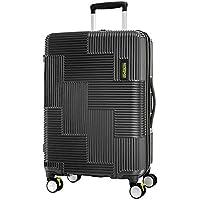 American Tourister Velton Hard Side Spinner Luggage, Black/Lime Green, 69 Centimeters