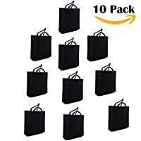 (Black) - LazyMe Reusable Grocery Bags, Set of 10,Large Tote Bags,18x 110cm x 4inch Merchandise Bags, Multicolors (Black)