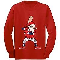 Ho Ho Home Run Santa Claus Baseball Christmas Toddler/Kids Long Sleeve T-Shirt