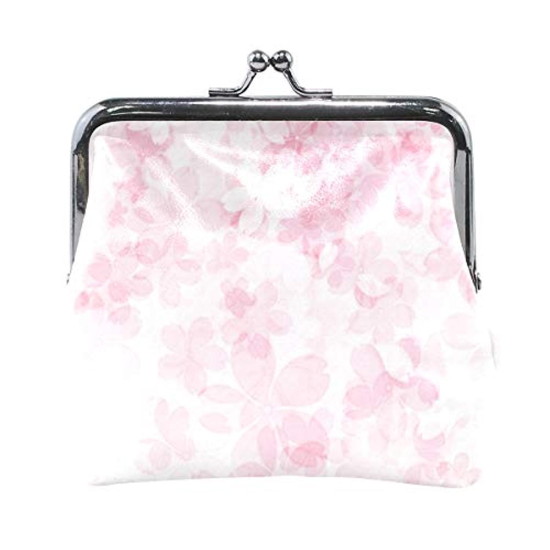 がま口 小銭入れ 財布 ピンクの桜の花 コインケース レザー製 丸形 軽量 人気 おしゃれ プレゼント ギフト 雑貨