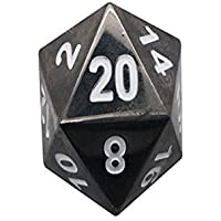 45mm Full Metal D20 Norse Foundry Drow Black - The Boulder RPG D&D Polyhedral Dice