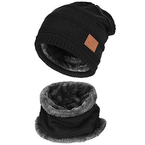 VBIGER 暖かい ニット帽子&マフラー キャップ セット ビーニーキャップ 防寒 保温 スキー スポーツ アウトドア 冬 (B-ブラック)