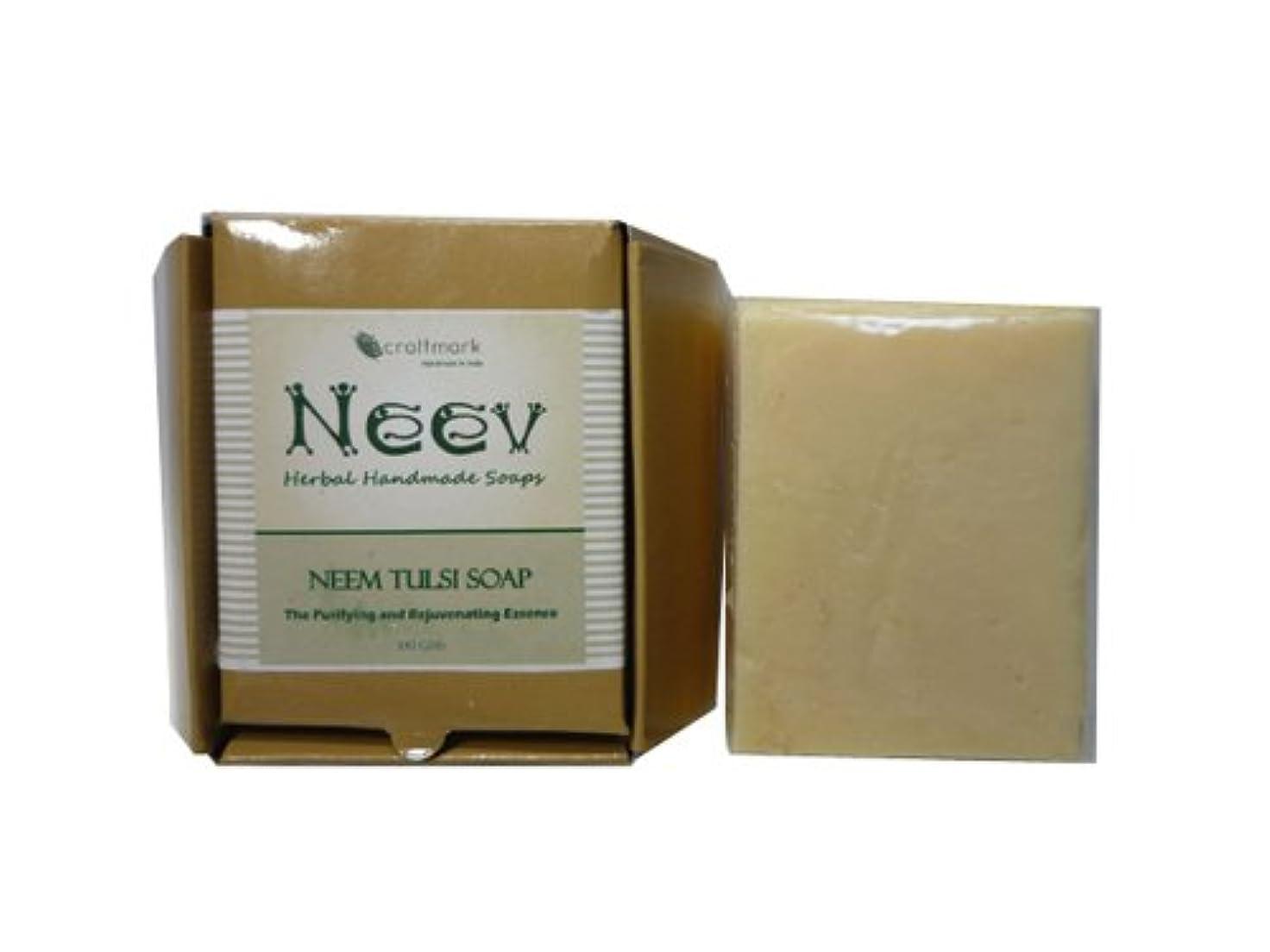 ウサギ記念品甘くする手作り ニーブ ニーム&トゥルシ ソープ NEEV Herbal NEEM TULSI SOAP