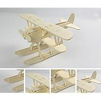 HuaQingPiJu-JP 創造的な木製の3Dパズルアーリーラーニングの形状透明なツール子供のためのおもちゃのファンタスティックギフト(シープレーン)